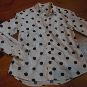 BODEN 4P Classic Shirt Navy Polka Dots